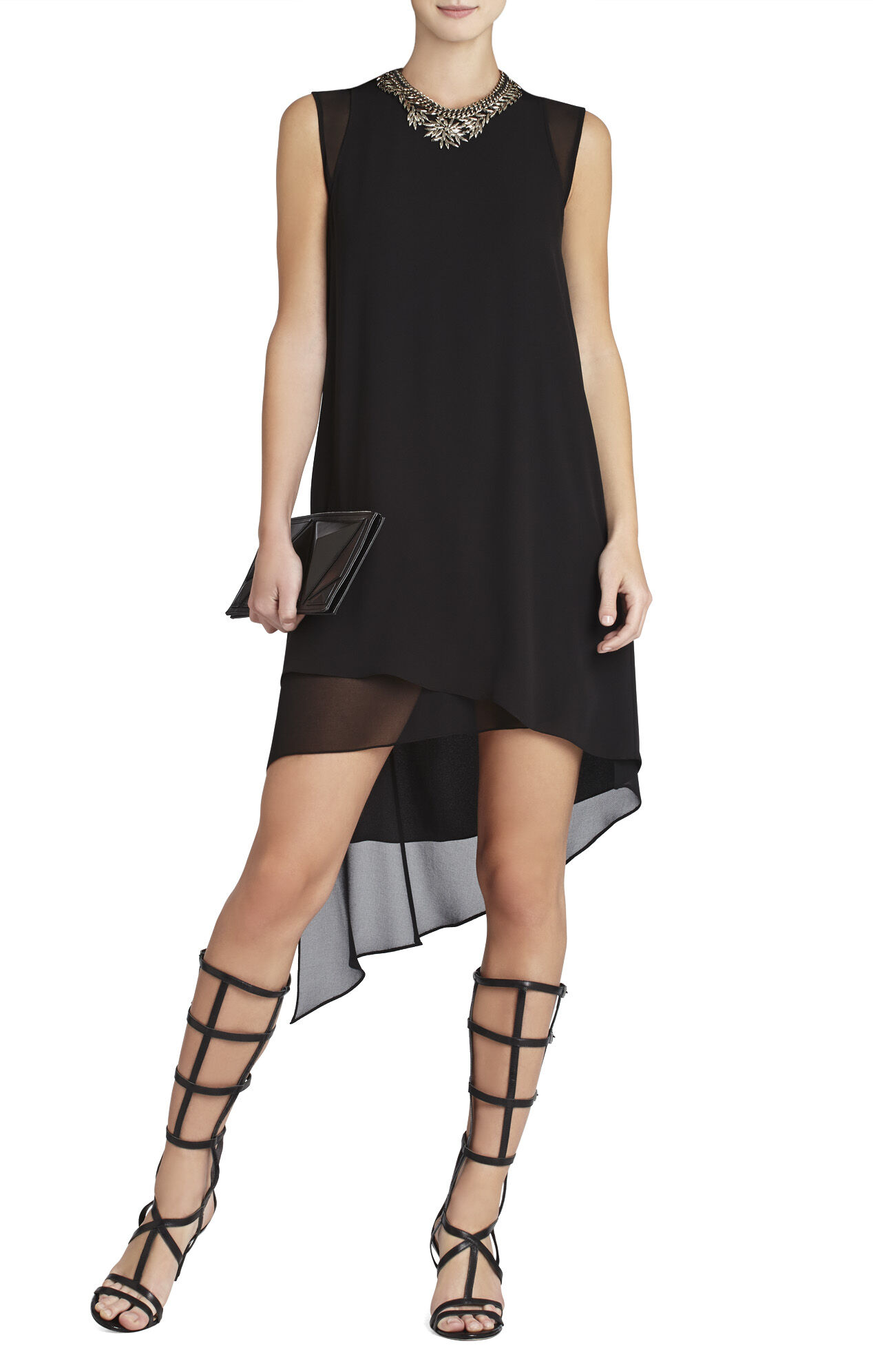 Lainey Sleeveless Asymmetrical-Hem Cutout Dress