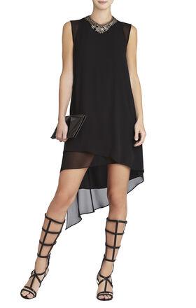 Lainey Sleeveless Asymmetrical-Hem Cutout Dress