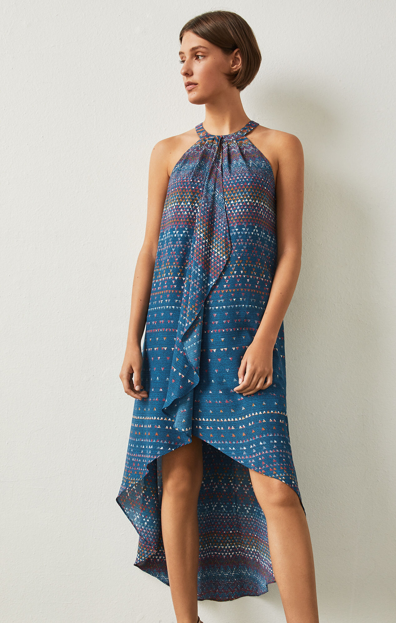 Lanna Tapestry-Print High-Low Dress