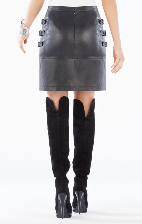 Devan Belted Faux-Leather Skirt