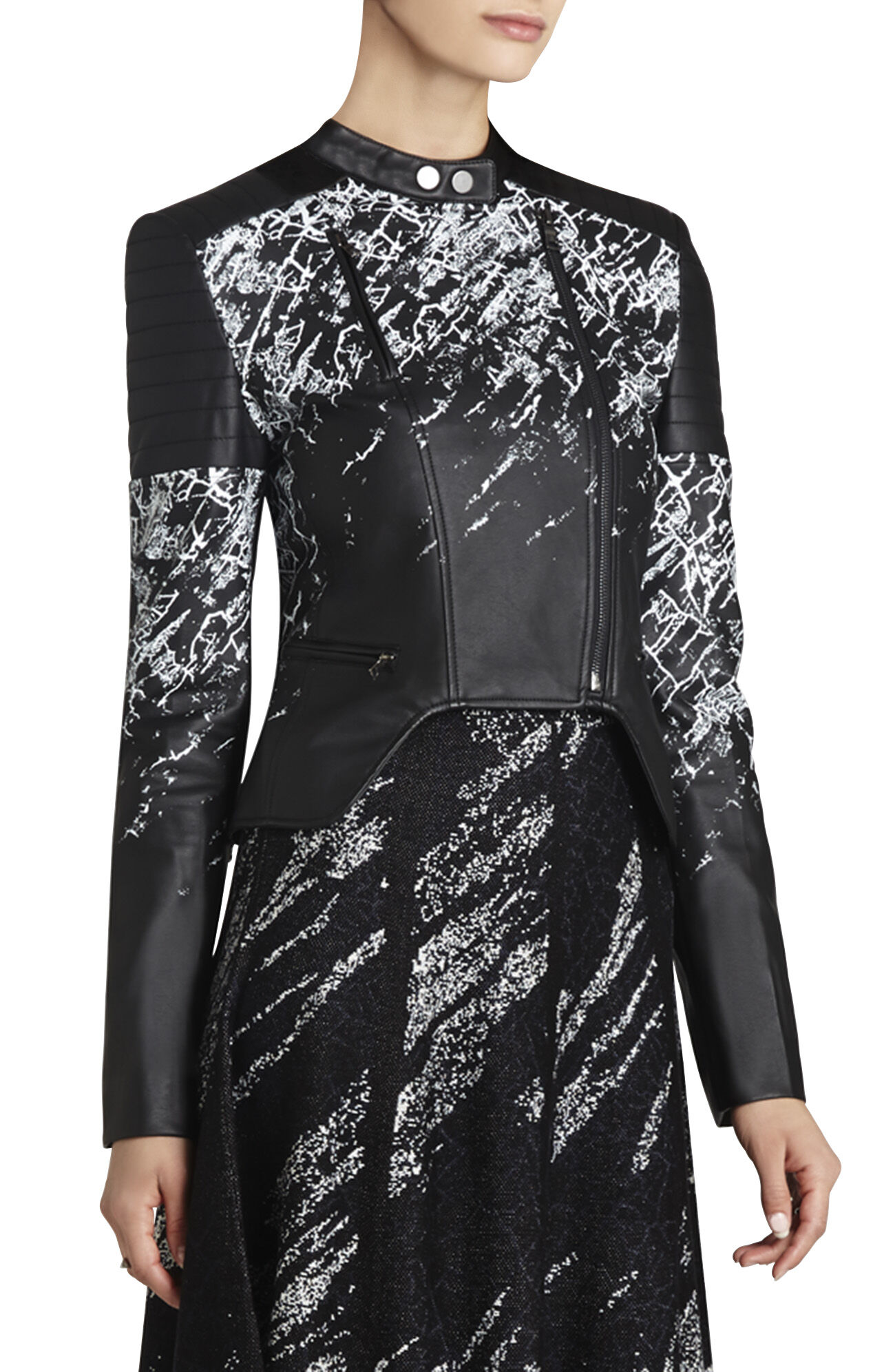Luis Printed Faux-Leather Moto Jacket