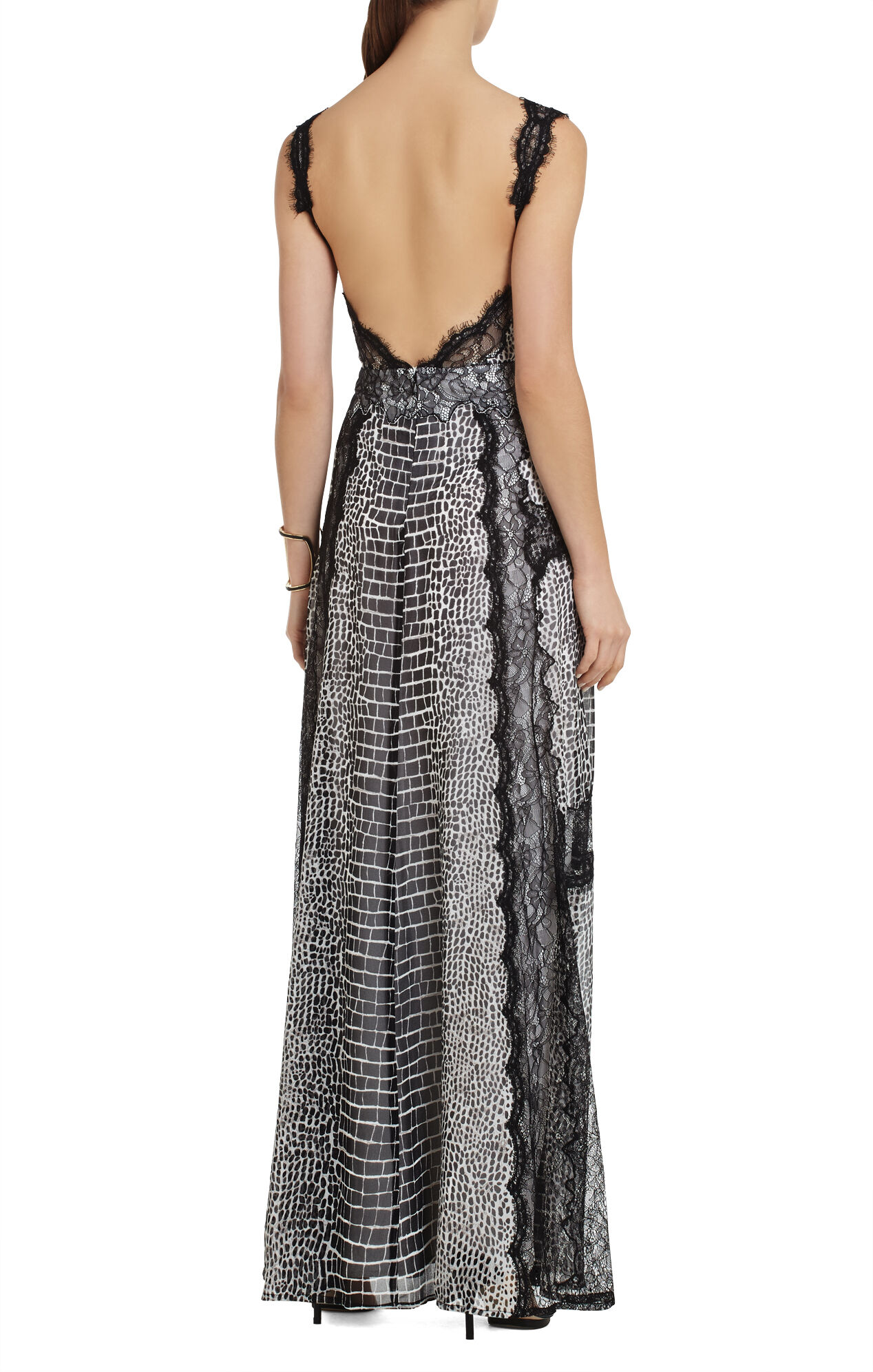 Elias Mixed-Print Lace-Insert Gown