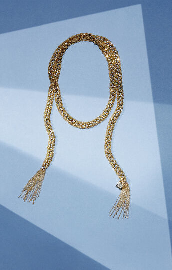 Mesh Chain Lariat Necklace