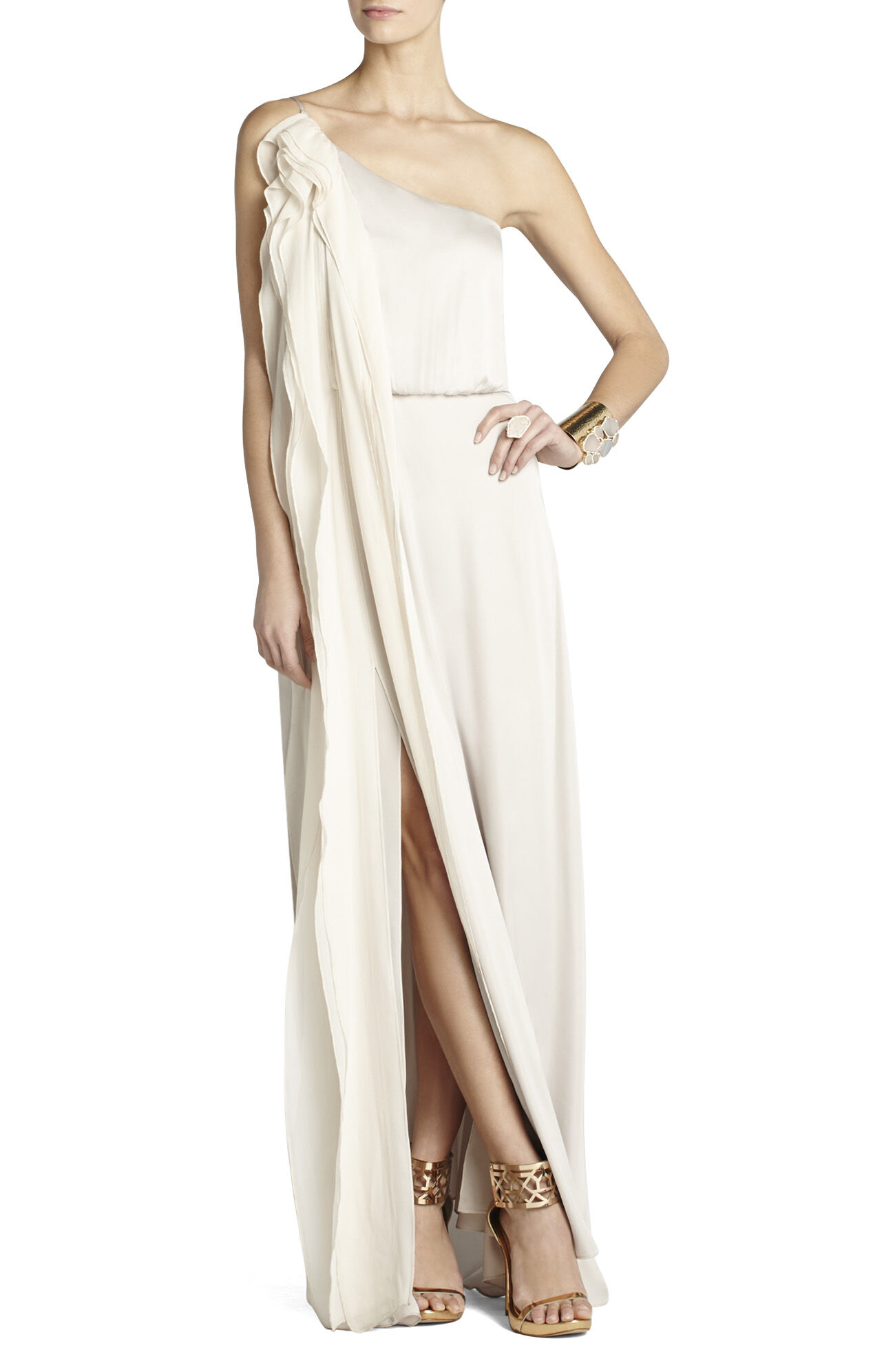 Nalda One-Shoulder Long Ruffle Dress