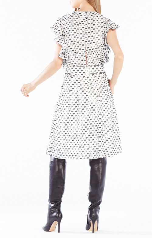 Shelia Flutter-Sleeve Dotted Dress