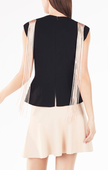 Virginie Beaded Fringe Peplum Top