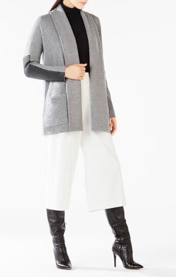 Katriney Faux-Leather Blocked Cardigan