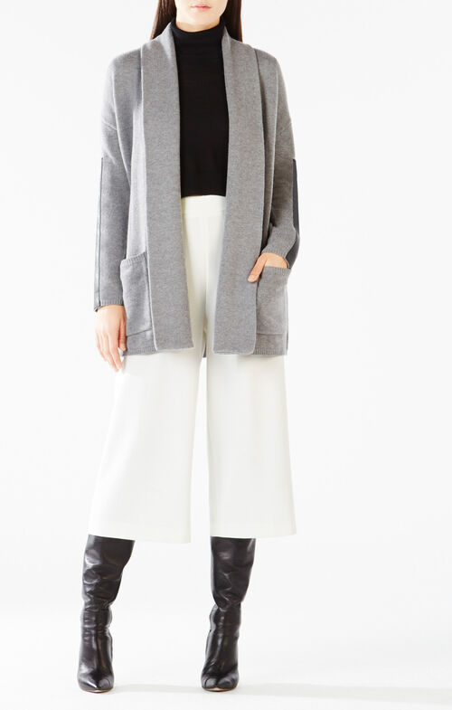 Katriney Faux-Leather Blocked Cardigan