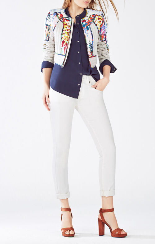 Motley Tropical Print-Blocked Tweed Jacket