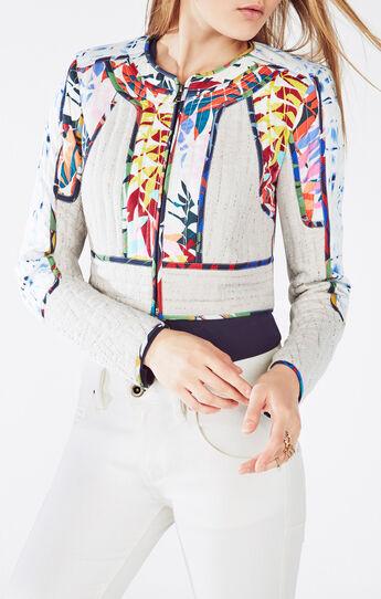 Motley Tropical Print-Blocked Tweed Jacket