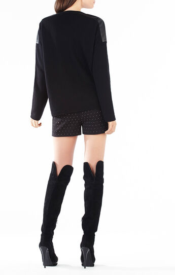 Talitha Faux-Leather Blocked Sweater
