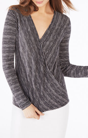 Cathryn Striped Wrap Top