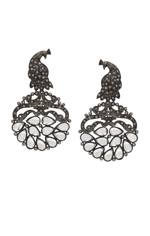 Pave Peacock Earrings