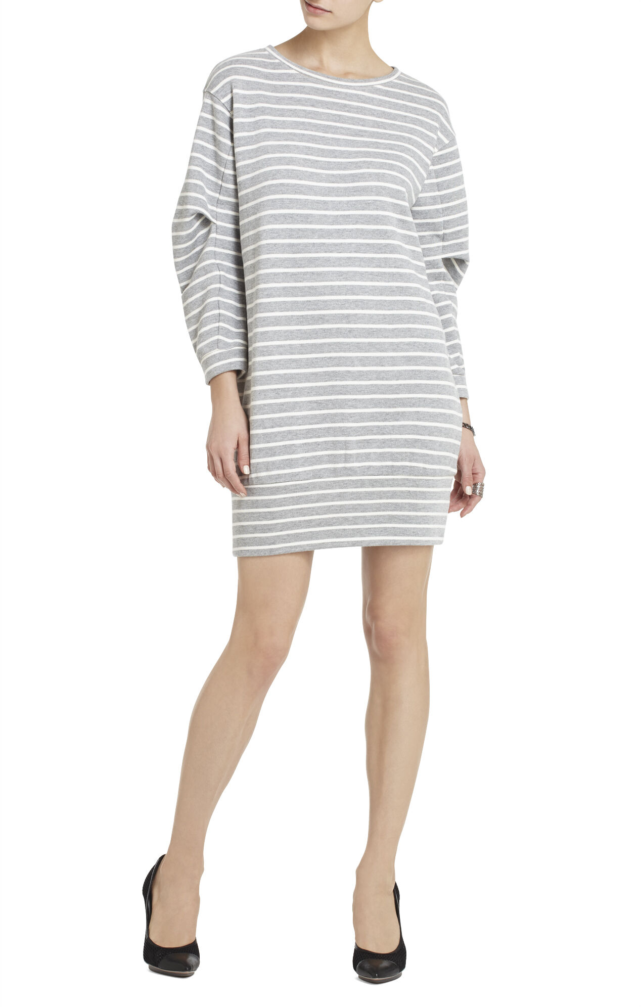 Chance Pleated-Arm Sweatshirt Dress