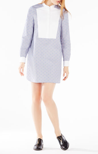 Michala Dotted Bib Shirt Dress