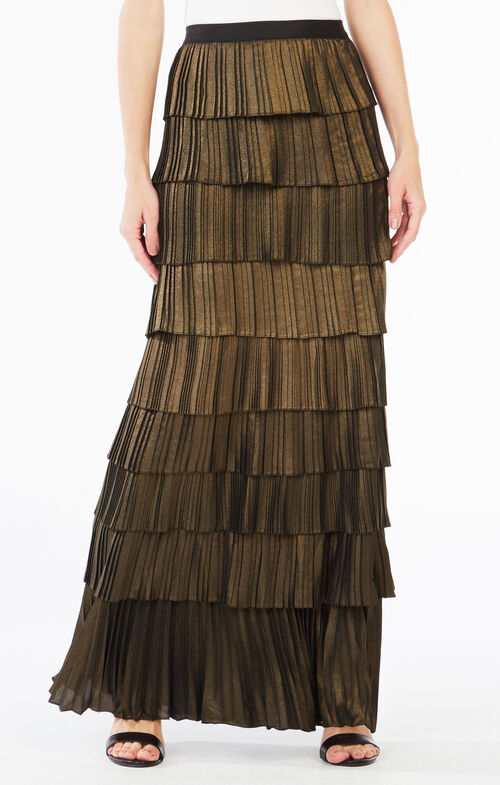 Janna Metallic Pleated Maxi Skirt