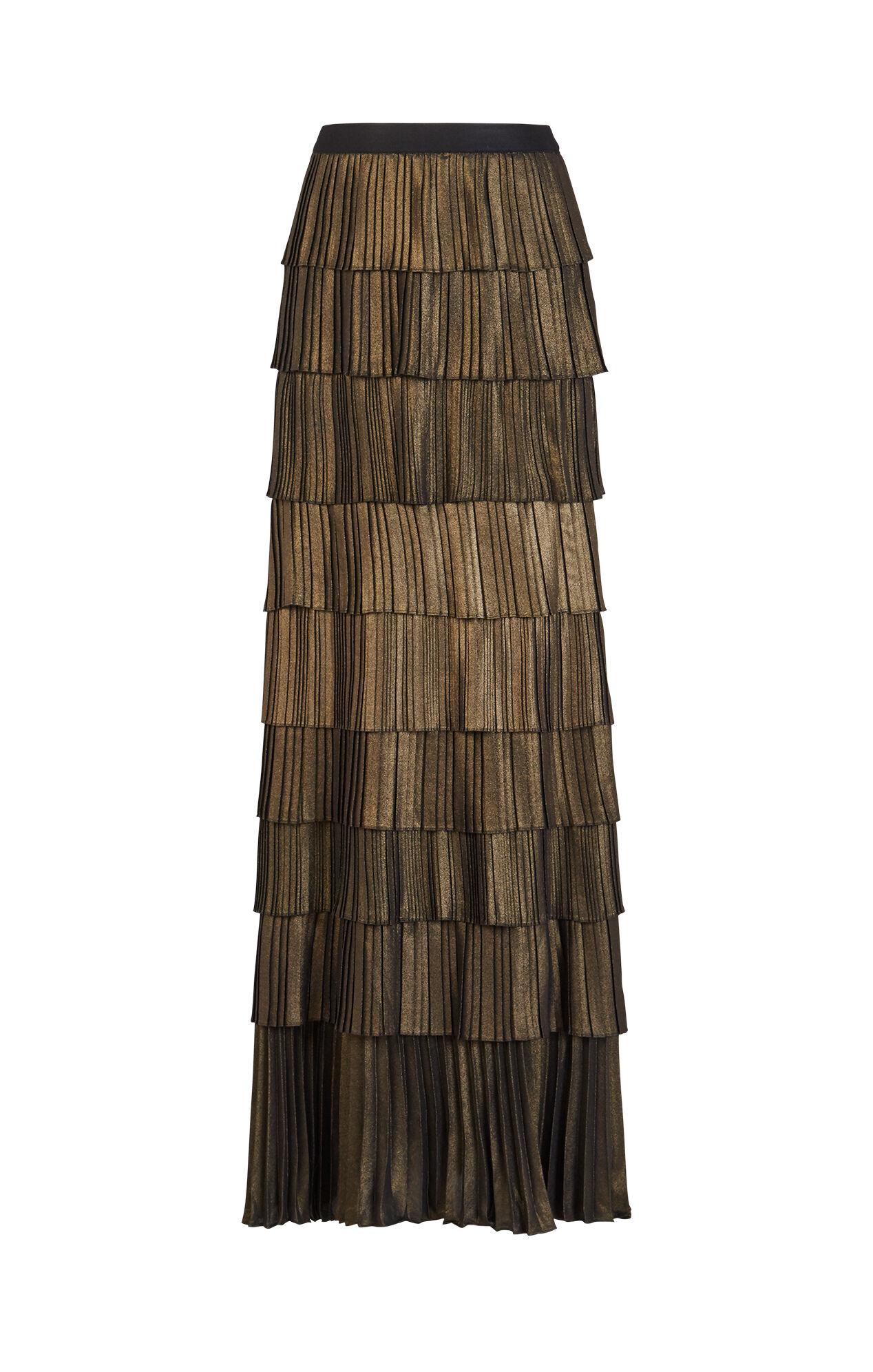 janna metallic pleated maxi skirt