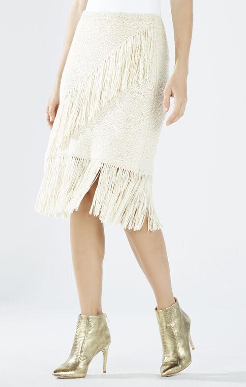 Varah Asymmetrical Fringe Skirt