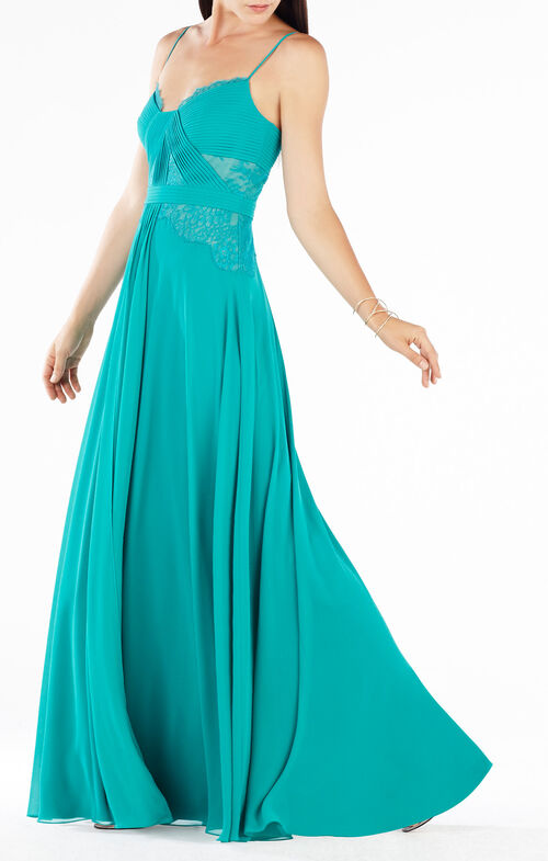 Antonea Lace-Trim Pleated Gown