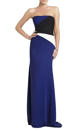 Audrianna Strapless Color-Blocked Gown