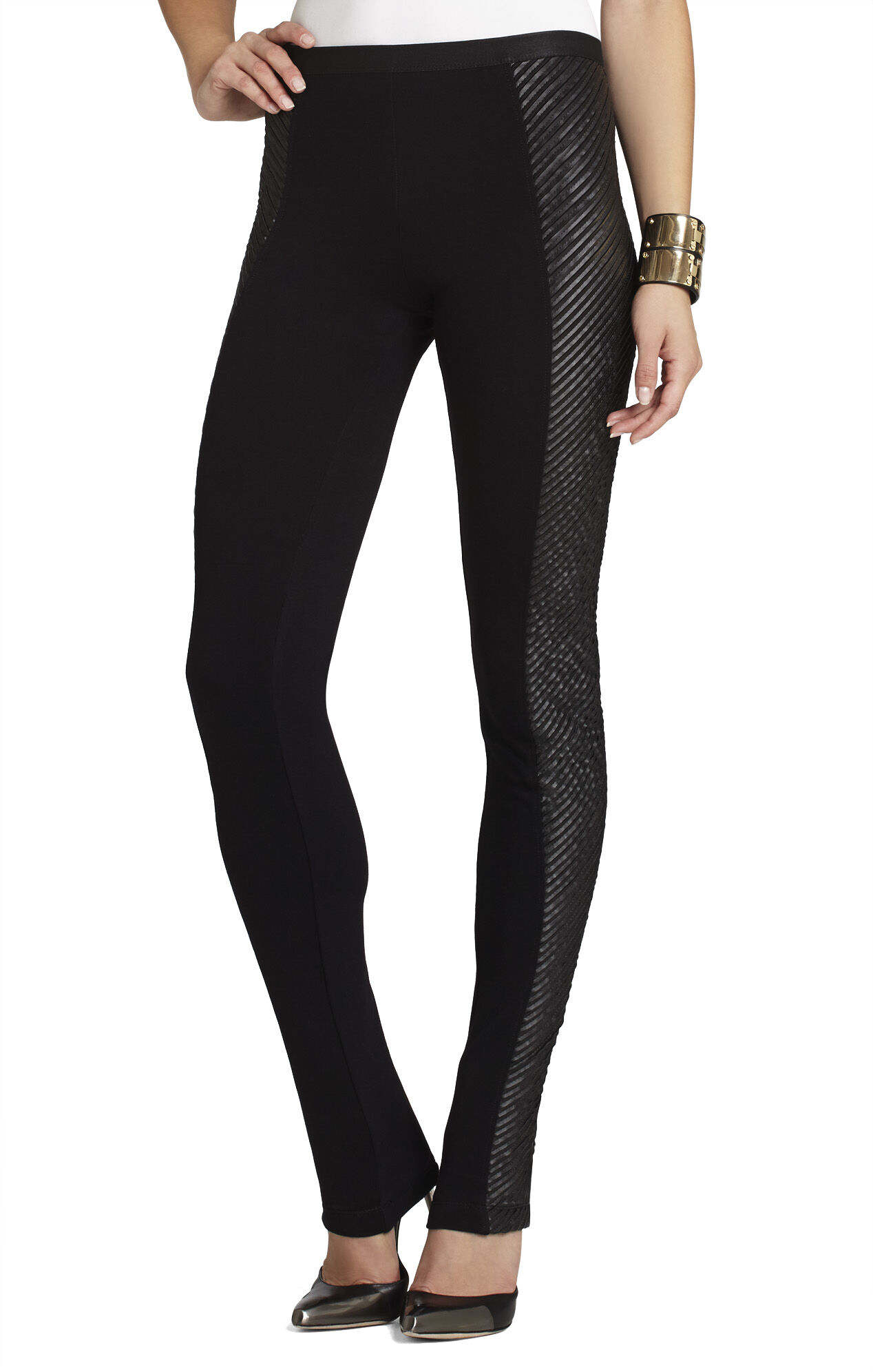 Lyn Pleather-Strapped Legging
