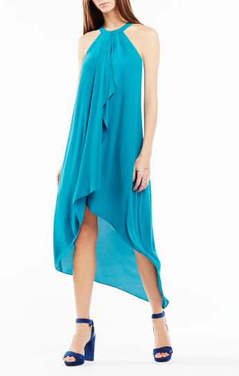 Lanna High-Low Draped Ruffle Dress