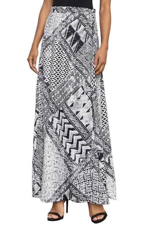 Aviva Geometric-Print Maxi Wrap Skirt