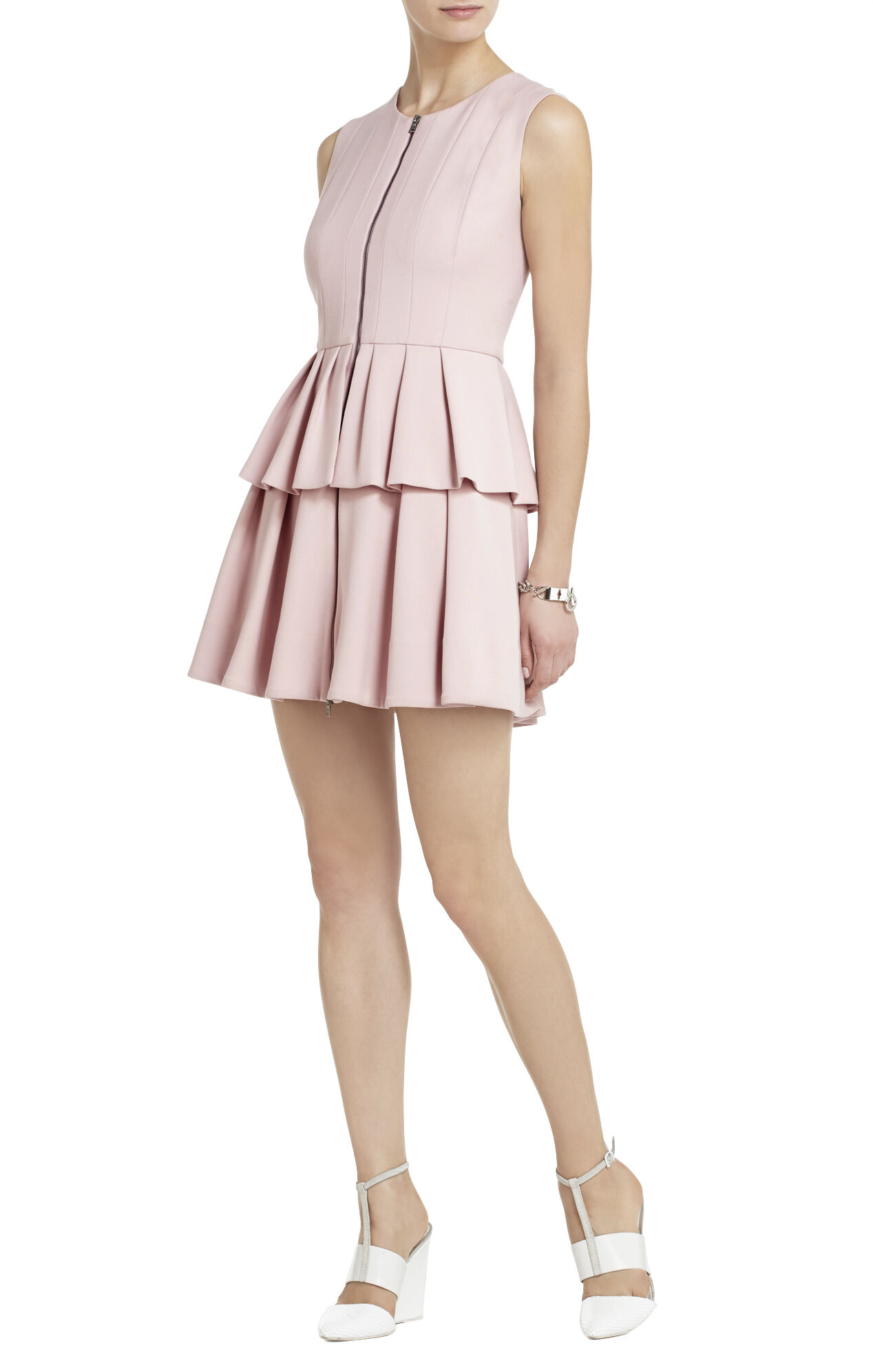 Audrey Sleeveless Pleated Peplum Dress