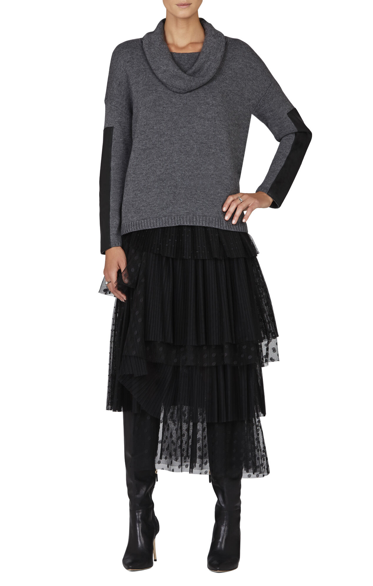 Suzete Asymmetrical Pleated Tulle Skirt