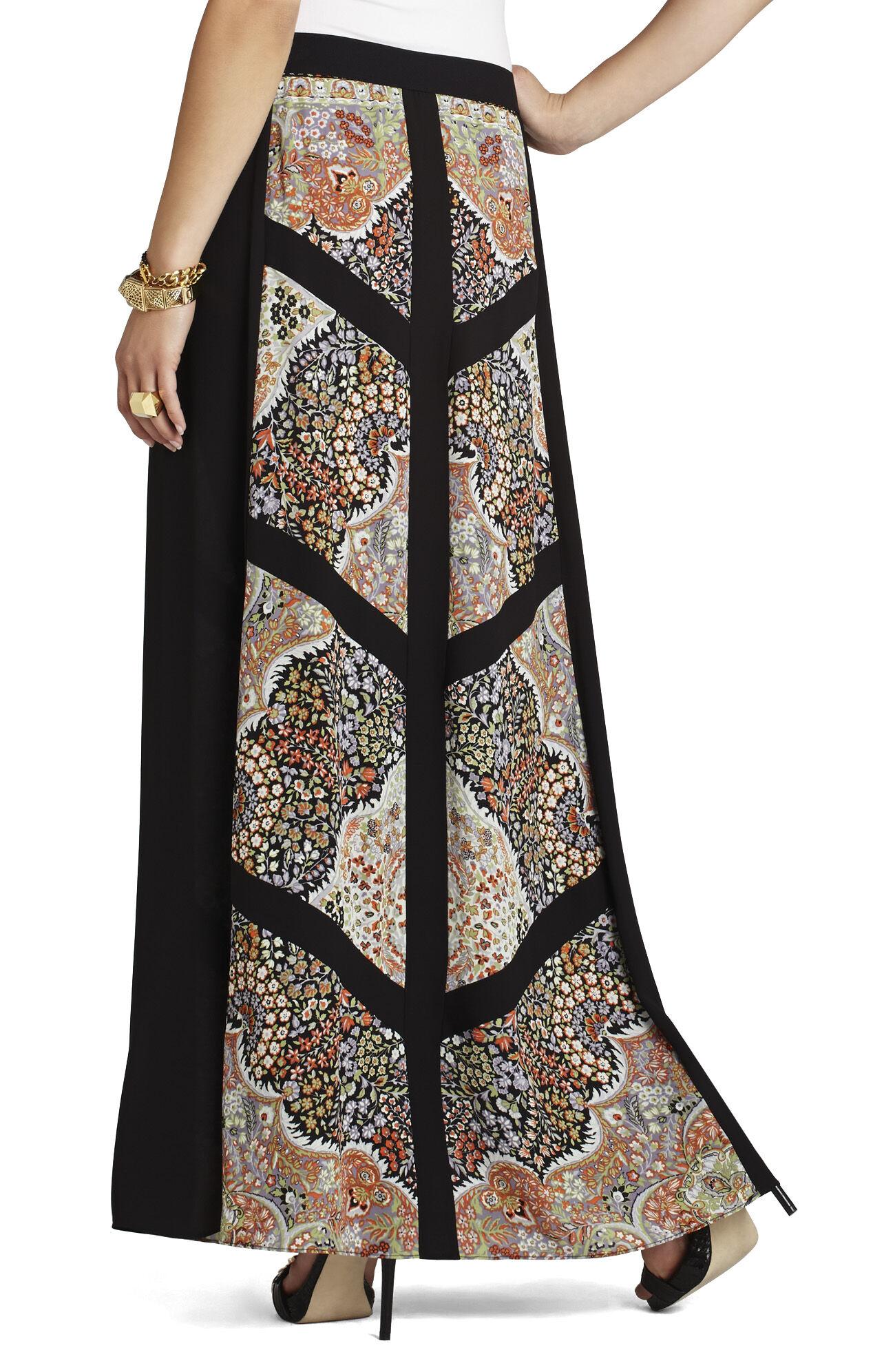Safina Blocked Scarf-Print Skirt