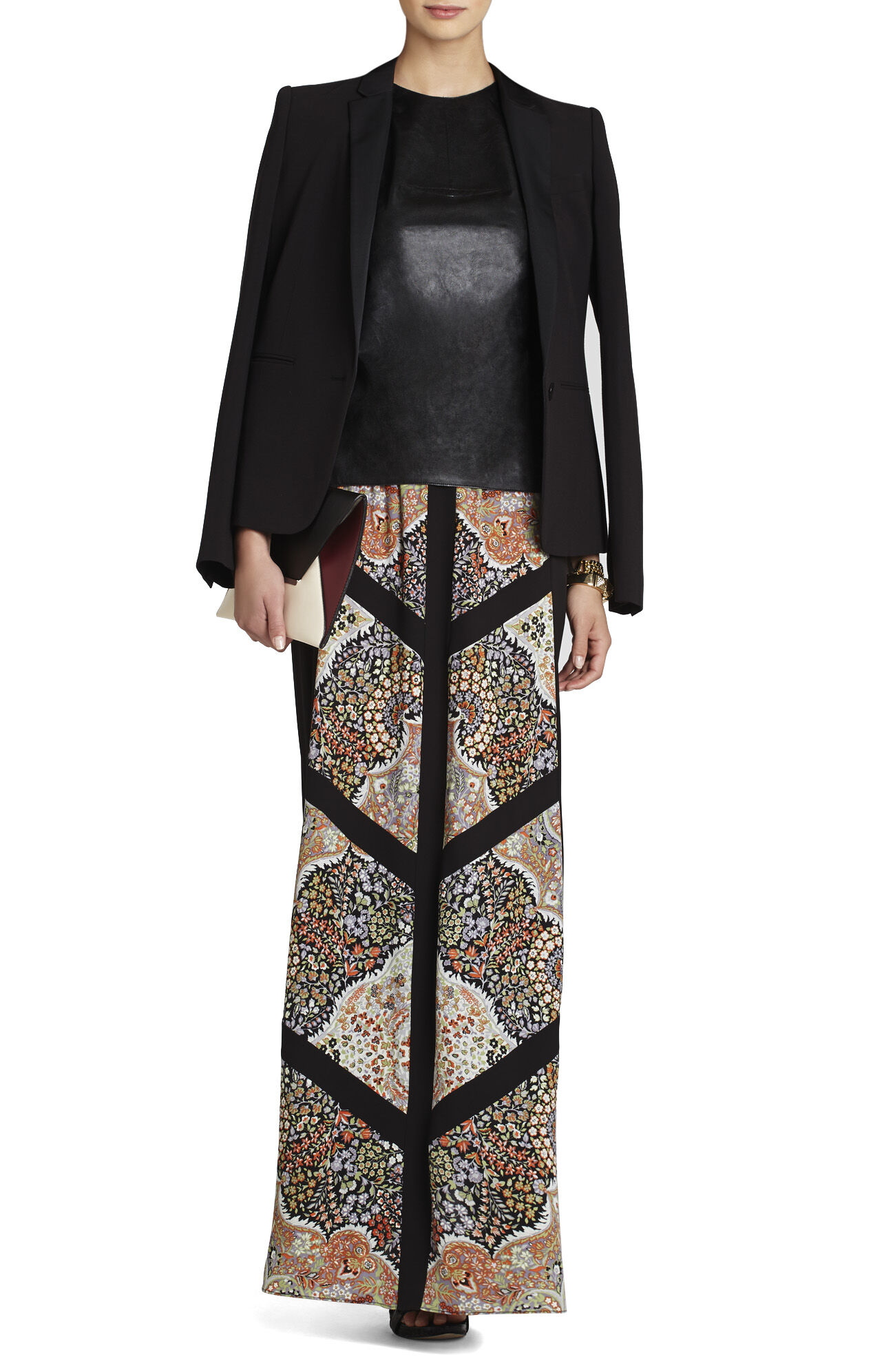 Safina Blocked Scarf-Print Skirt