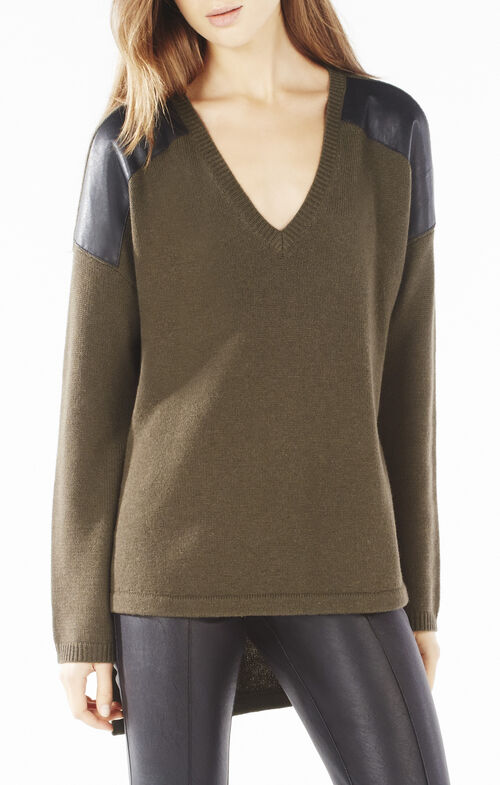 Everleigh Faux-Leather Blocked High-Low Sweater