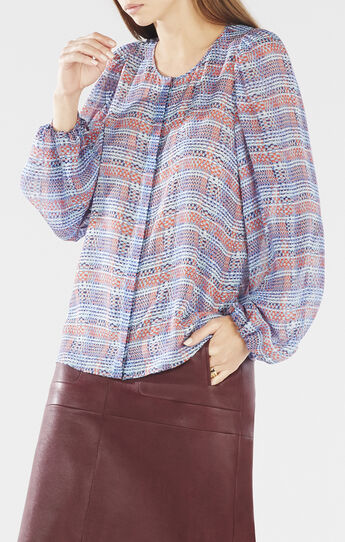 Sofiya Dotted Plaid Poet Blouse