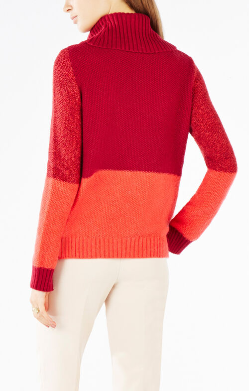 Shayna Turtleneck Color-Blocked Cable-Knit Sweater