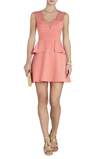 Leann Lace-Applique V-Neck Dress