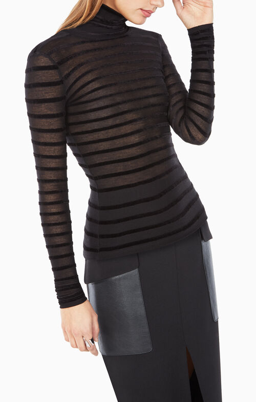 Brynn Velvet-Striped Turtleneck Top