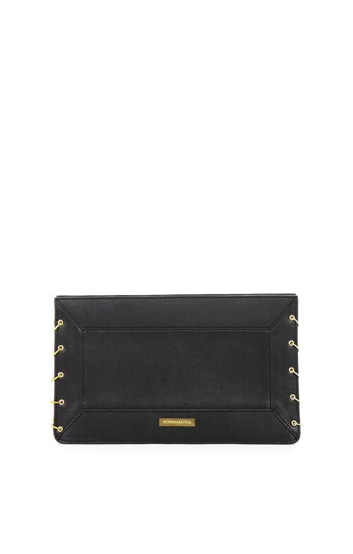 Geneva Chain Gusset Leather Clutch
