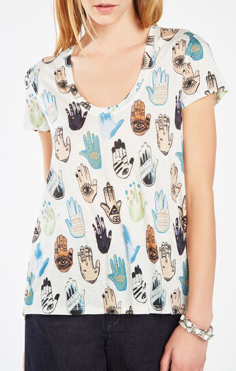 Taaylor Hamsa Print Cross-Back Top