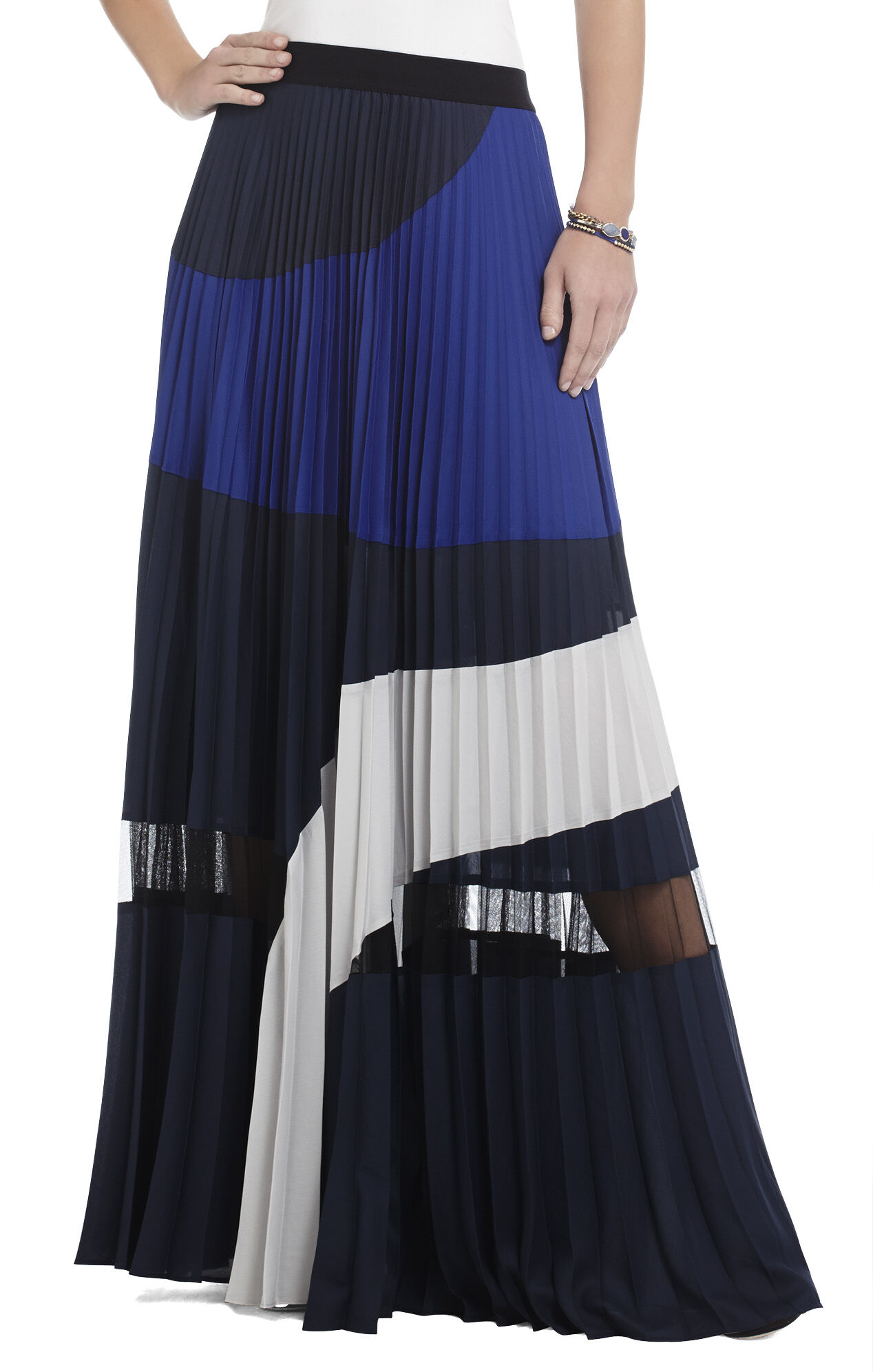 Christy Pleated Color-Blocked Maxi Skirt