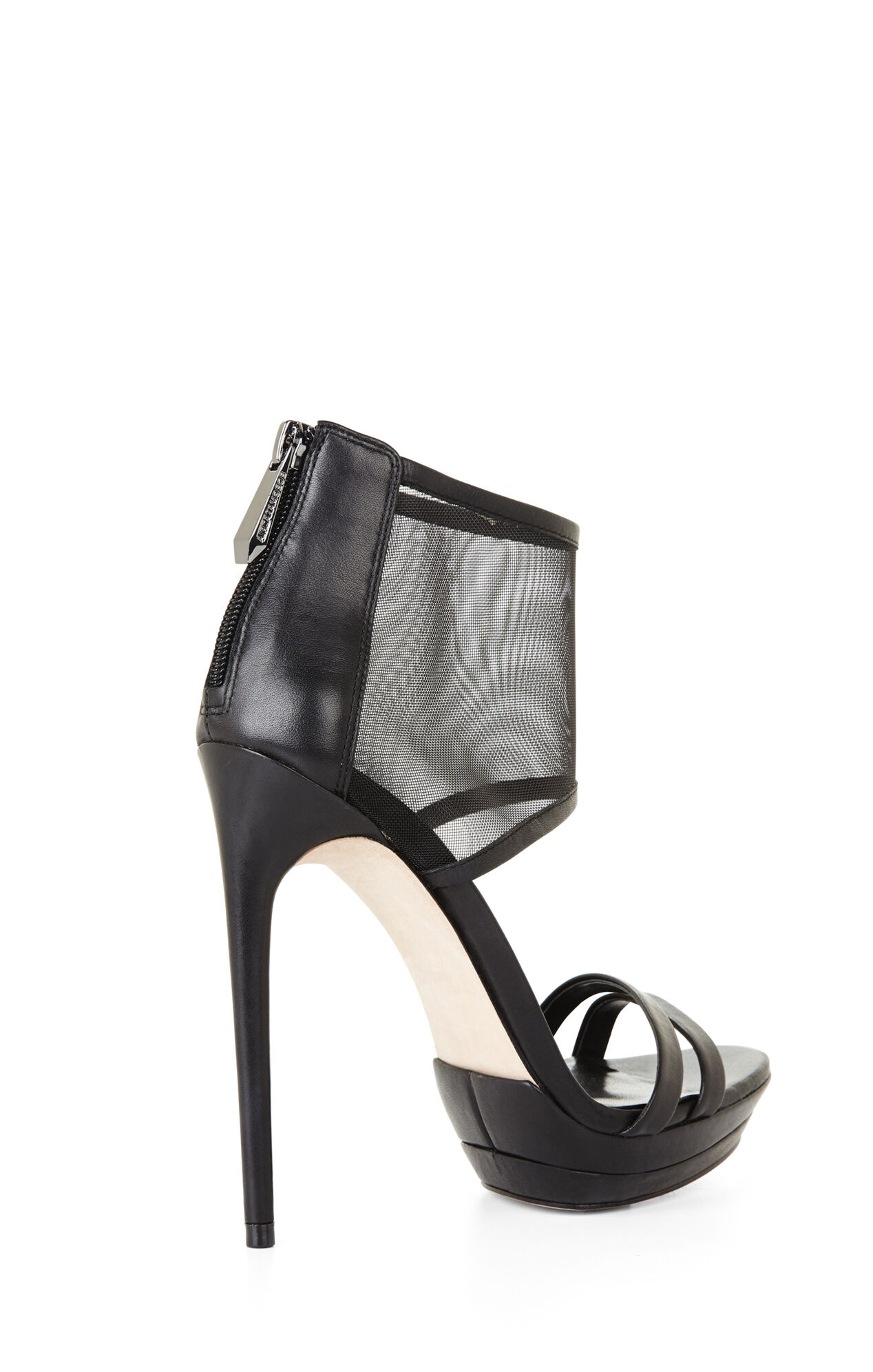 Ferned High-Heel Mesh-Cuff Sandal