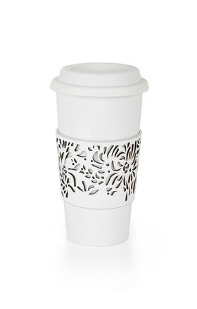 Laser-Cut Sleeve Ceramic Travel Mug
