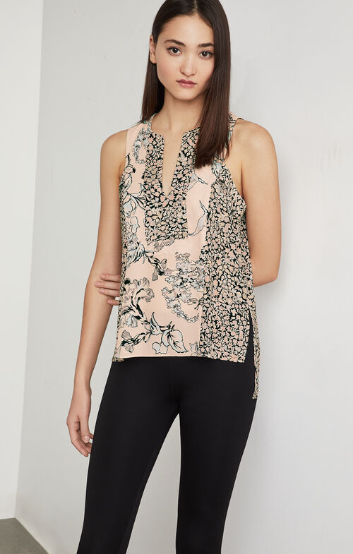 Vicky Floral Print-Blocked Top