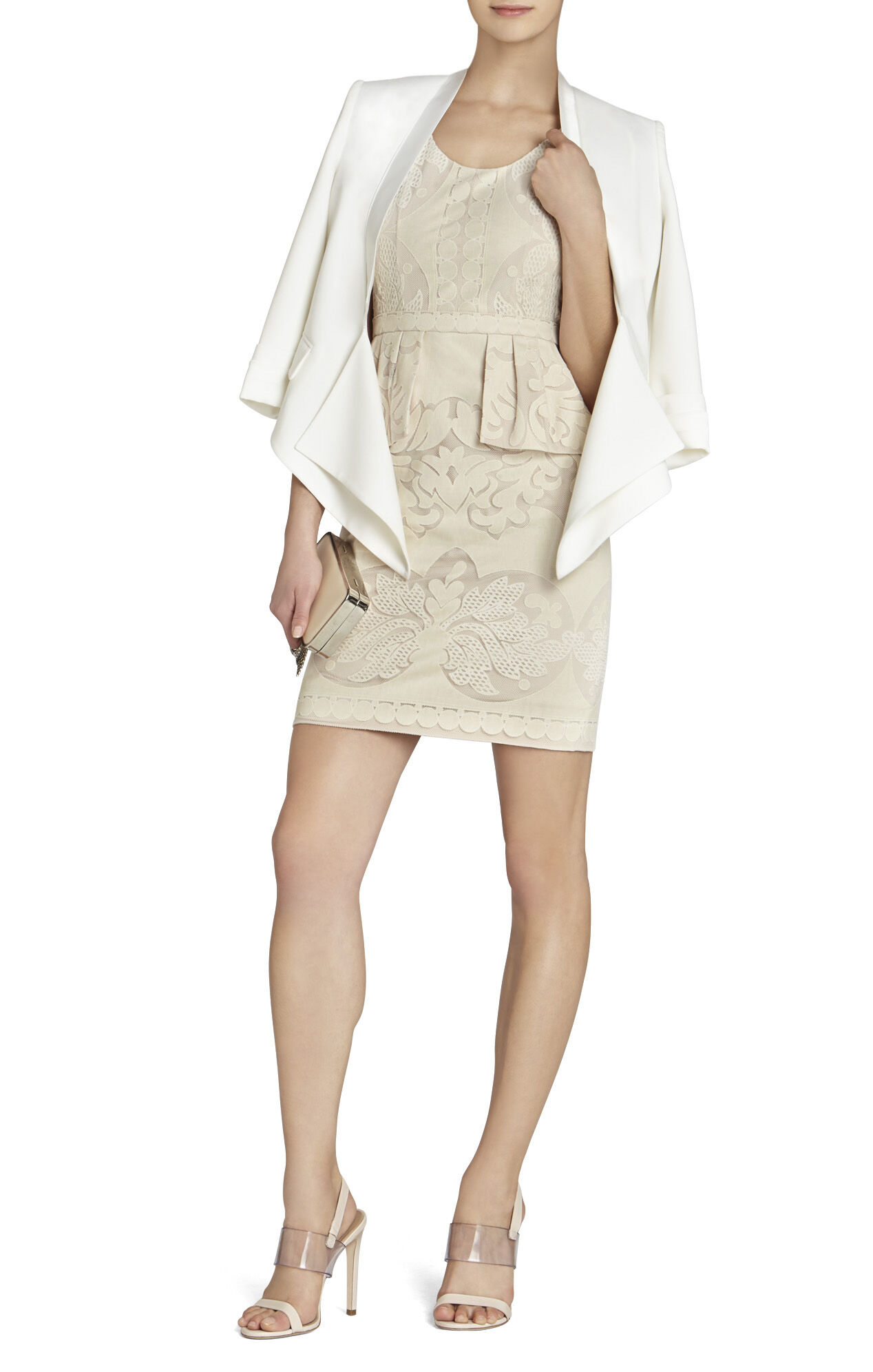 Etna Lace Peplum Sheath Dress