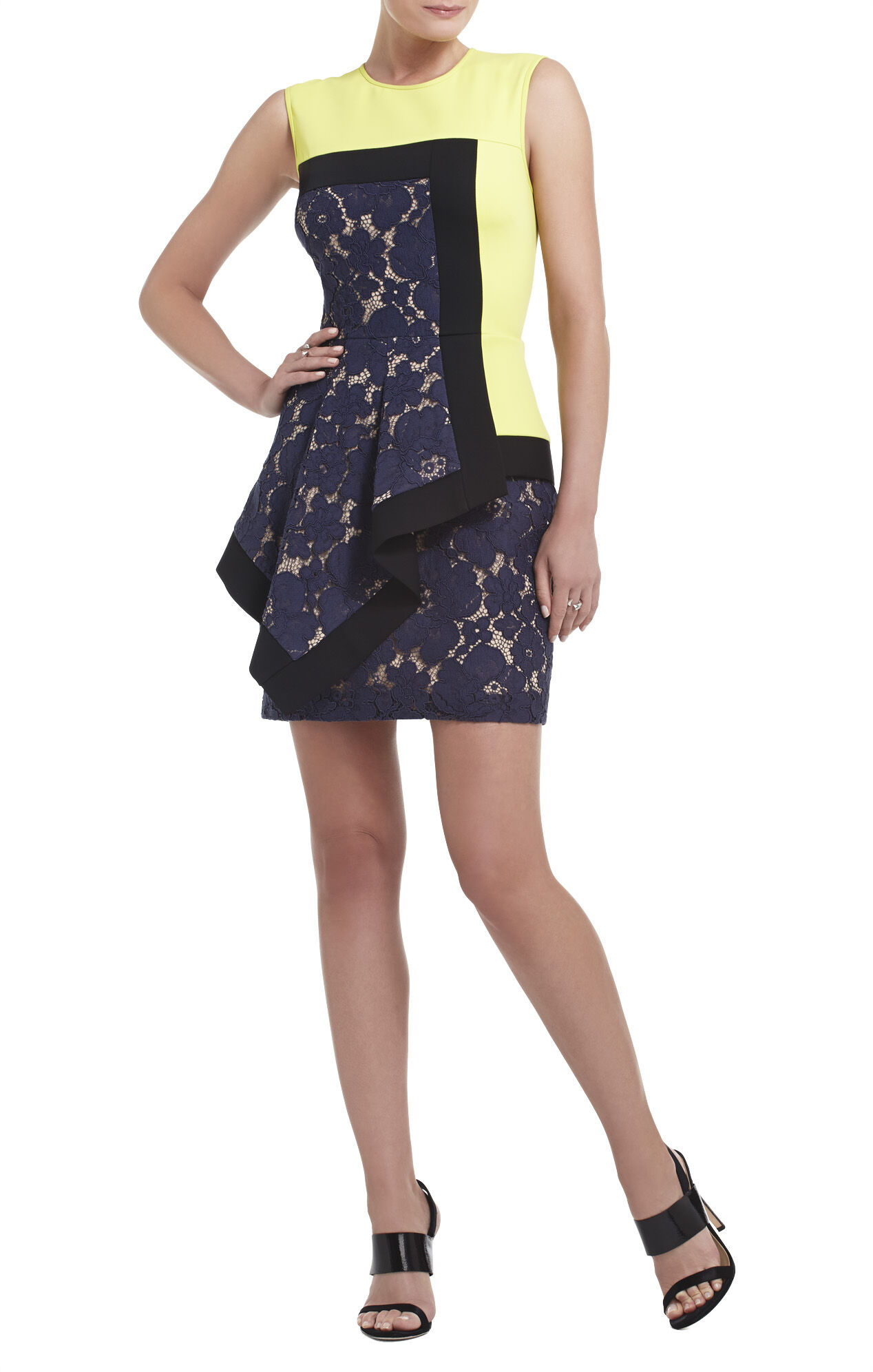 Alessandra Sleeveless Asymmetrical Peplum Dress