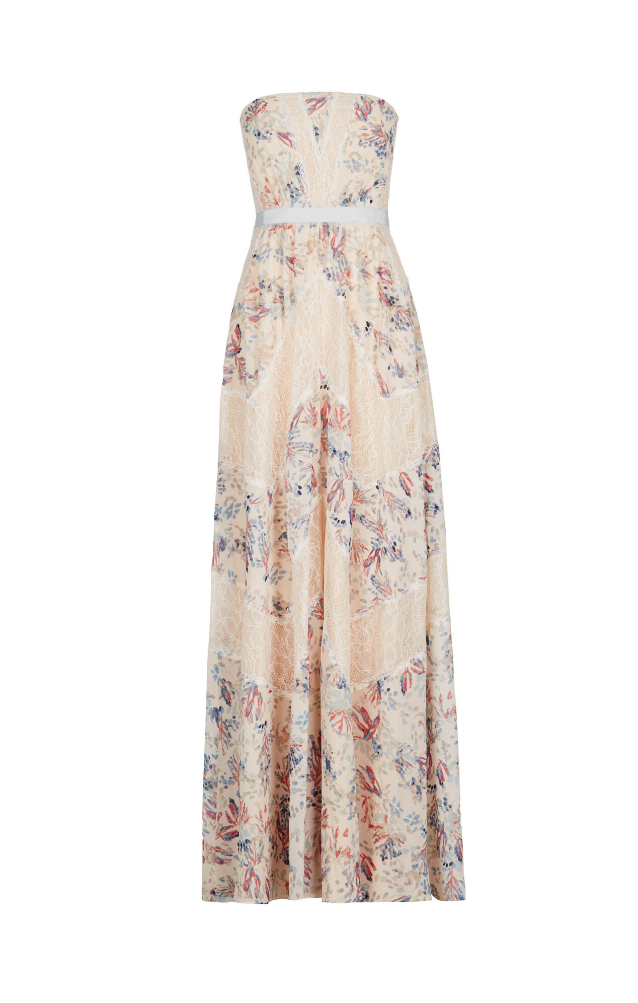 Elle Strapless Floral Print-Blocked Gown
