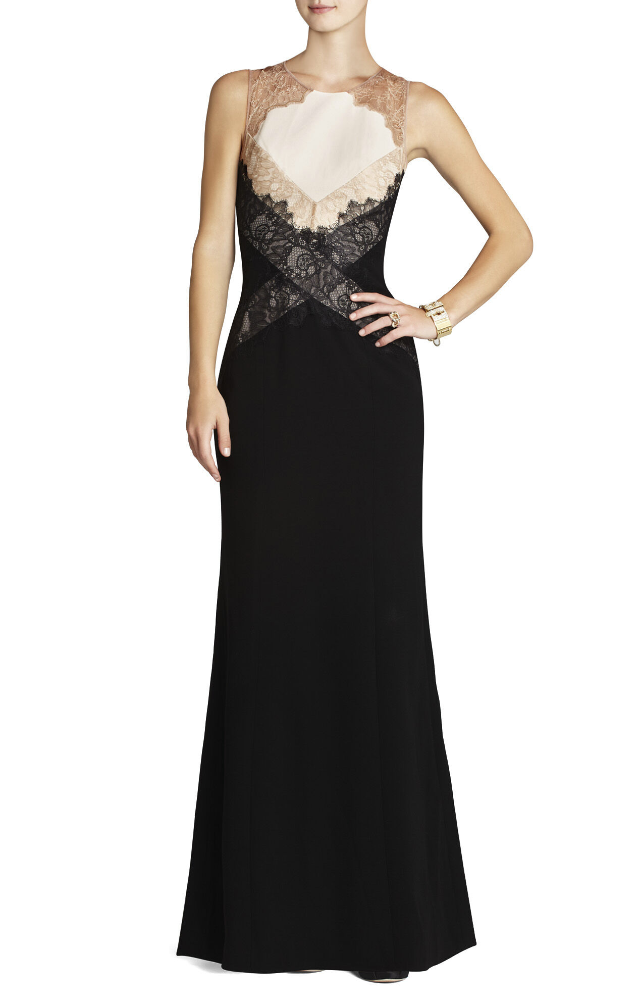 Aida Sleeveless Gown With Lace Contrast