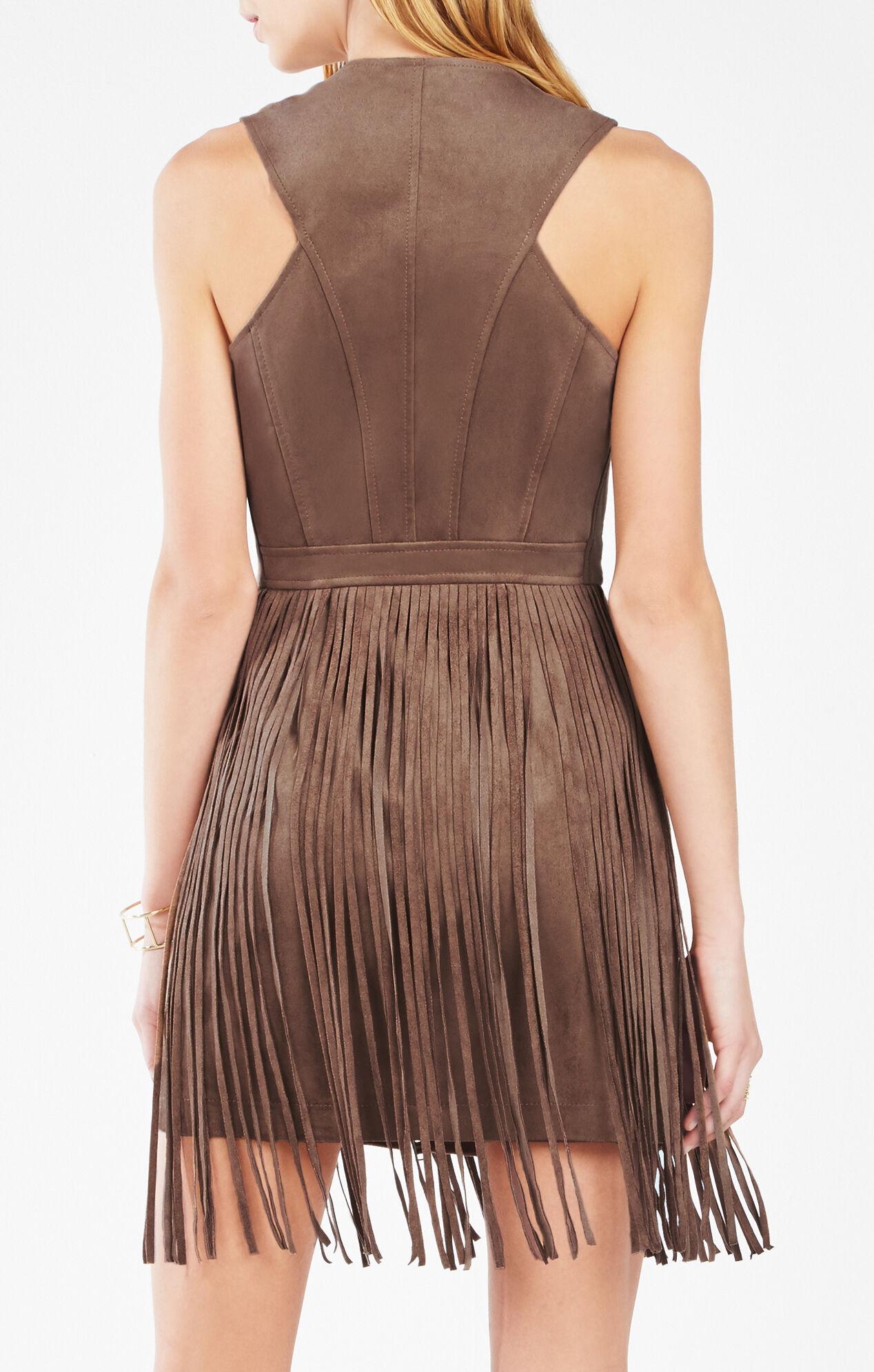 Hamiin Fringe Faux-Suede Vest Dress