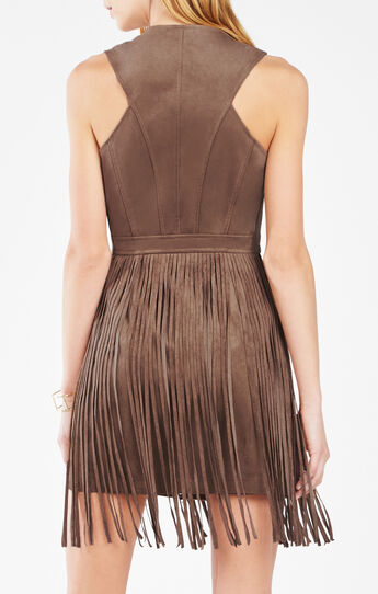 Hamiin Fringe Faux-Suede Vest Dress