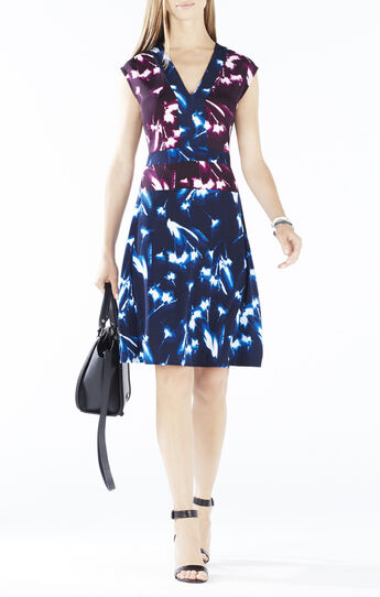 Brigid X-Ray Floral Print-Blocked Dress
