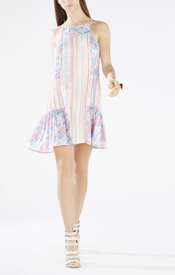 Lydea Print-Blocked A-Line Slip Dress